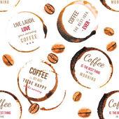 Káva skvrny s typ vzor bezešvé vzory