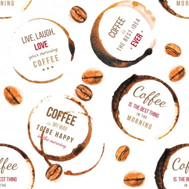 Coffee stains with type designs seamless pattern
