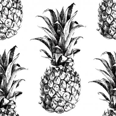 Hand drawn pineapple seamless