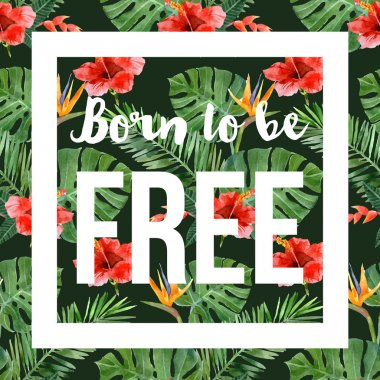 hand drawn tropical background with slogan