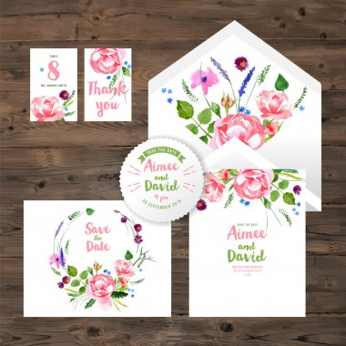 wedding cards with watercolor floral elements