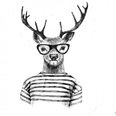 Hand drawn dressed up deer