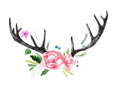 deer horns with watercolor flowers