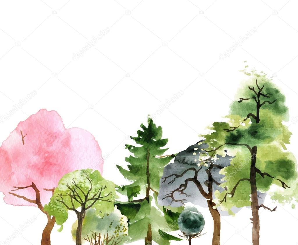 Hand drawn watercolor trees — Stock Vector © mart_m #76886045