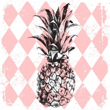 pineapple on rhombus background