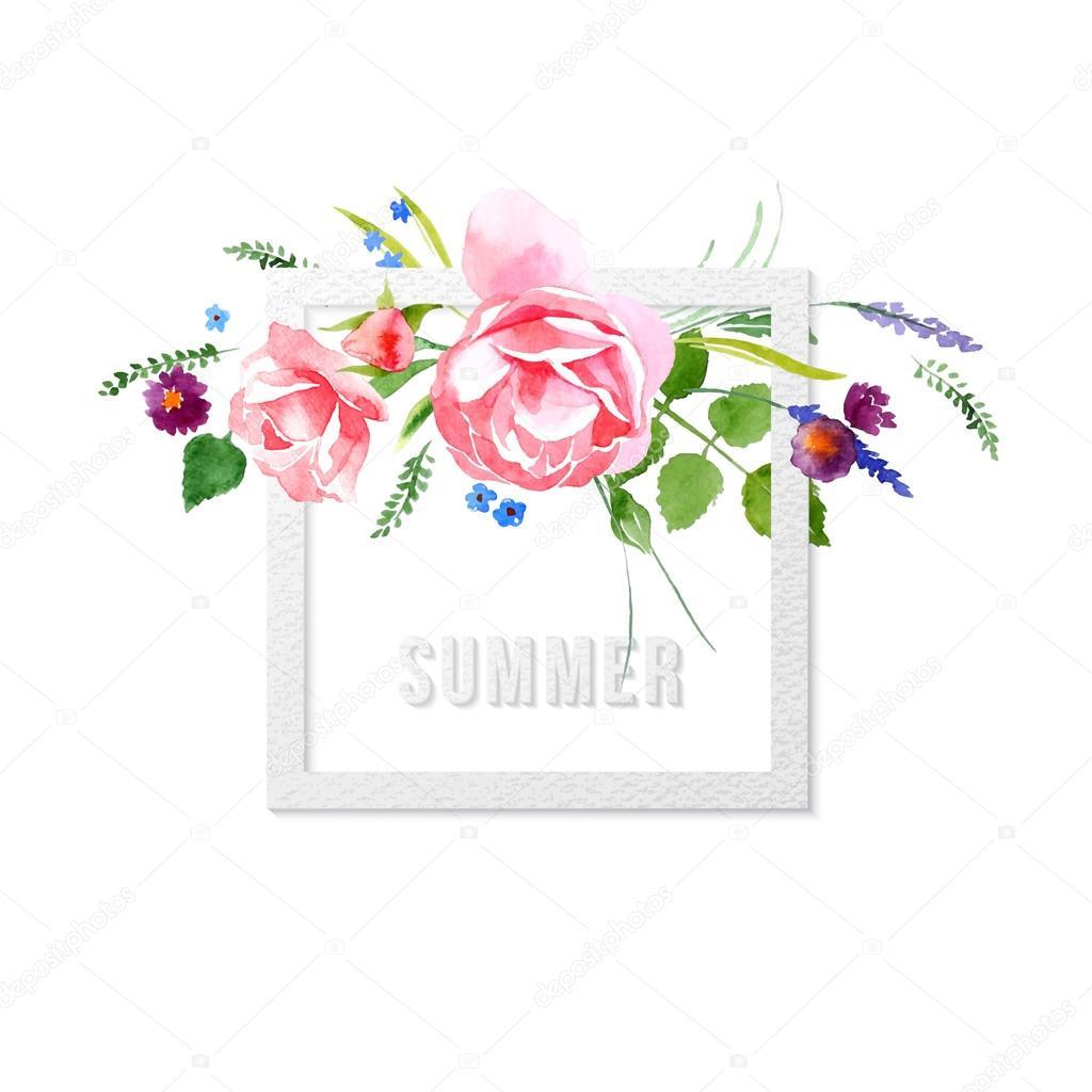 Watercolor summer time floral card