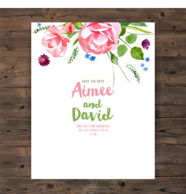 Wedding card with watercolor floral elements stock vector