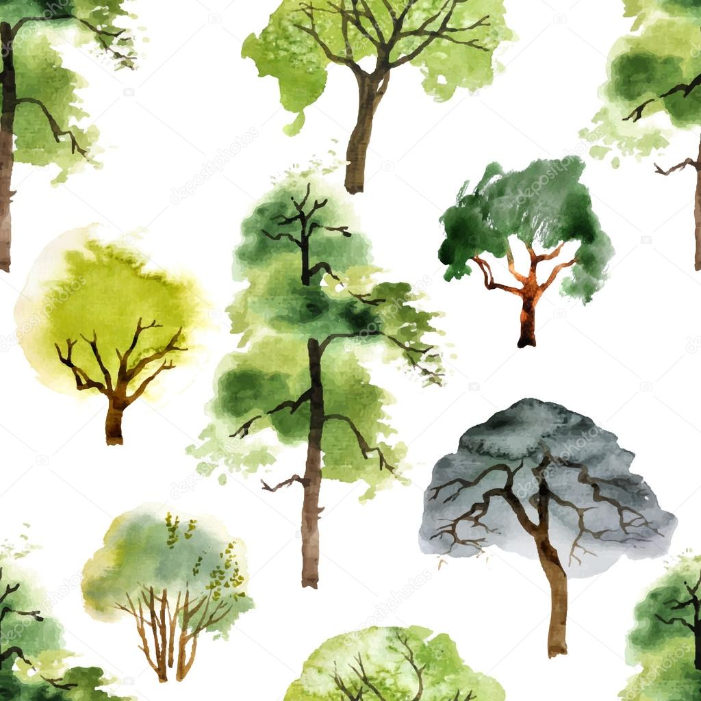seamless pattern with watercolor trees
