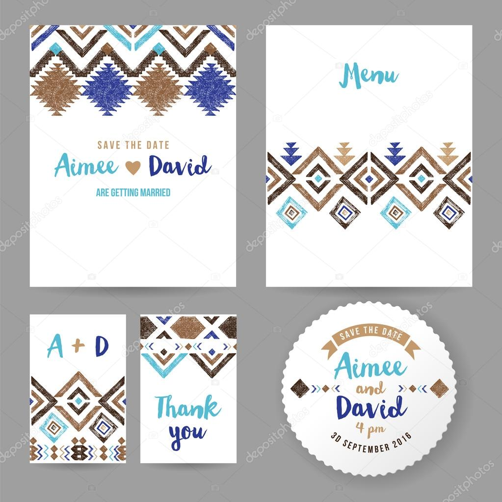 Wedding cards with tribal ornaments