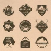Abenteuer-Etiketten im Vintage-Stil
