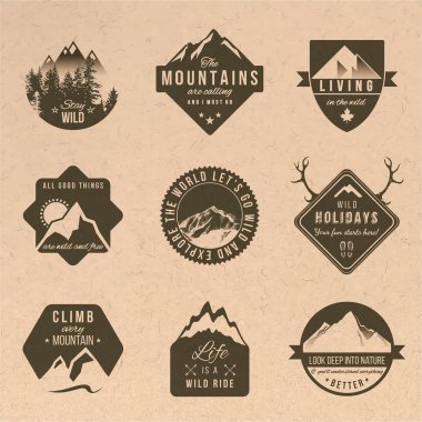 Set of adventure labels in vintage style