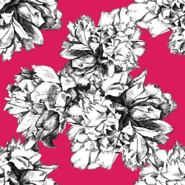 seamless peony pattern on pink background