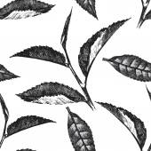hand drawn seamless pattern with tea leafs