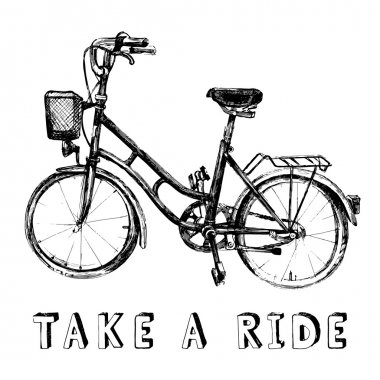 Hand drawn black and white bicycle clip art vector