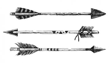 hand drawn arrows in tribal style