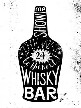 whisky silhouette with type design