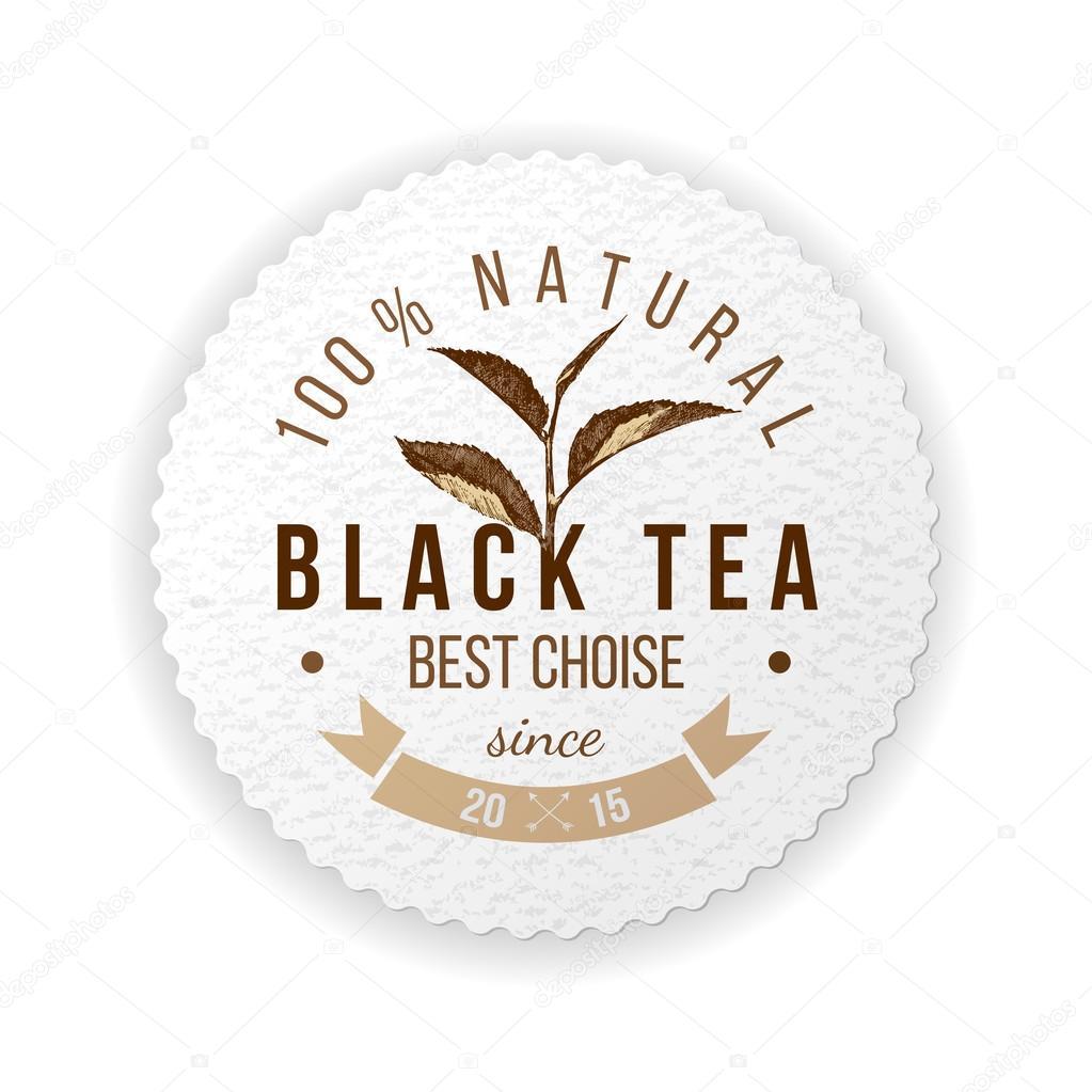 round emblem with hand drawn tea leafs