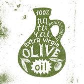 Fotografia Sagoma della bottiglia di olio doliva con il disegno di testo