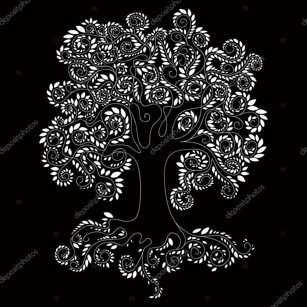 Large tree with a large bark consisting of small white leaves, roots, plants, tree silhouette, white lines on a black background