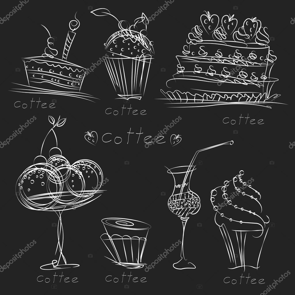 Drawings pencil of sweets set of images of food pastries