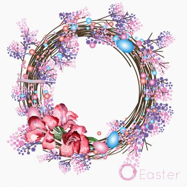Easter wreath of dried twigs, branches blooming lilacs, a small bouquet of pink and red flowers and colorful Easter eggs