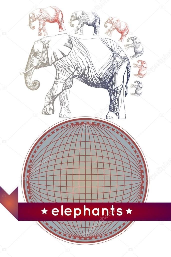 A herd of elephants on the planet earth, emblem