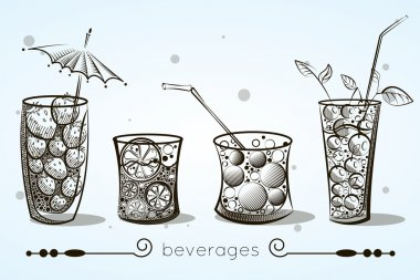 Set of glasses of different shapes with sodas and fruit