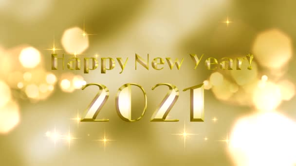 Happy New Year greetings written in gold letters on a gold background with shining stars