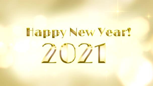 Šťastný Nový rok pozdravy napsané zlatými písmeny na zlatém pozadí se zářícími hvězdami