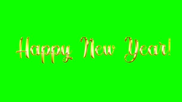 Boldog új évet 2021 hátterében chromakey arany irizáló betűk