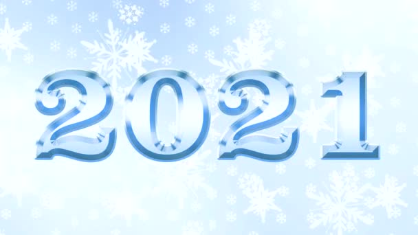 Rok Bovise. Pozdrav nápis Šťastný Nový rok 2021 na zářící obloze a pozadí novoroční hvězdy, světla a sněhové vločky.
