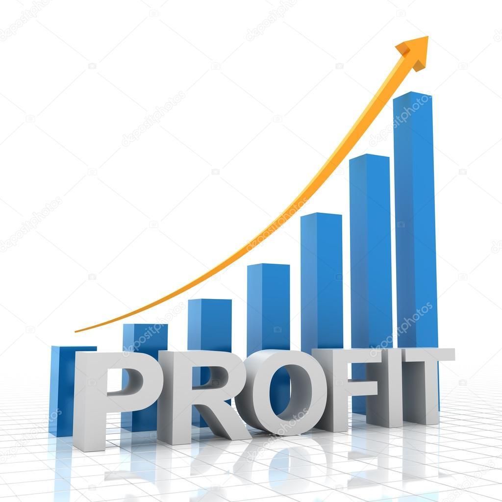 Profit: Profit Growth Chart, 3d Render