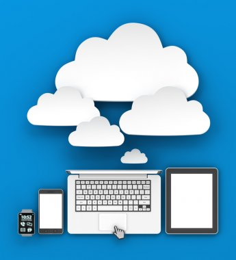 Gadgets connecting to cloud with copyspace, 3d render