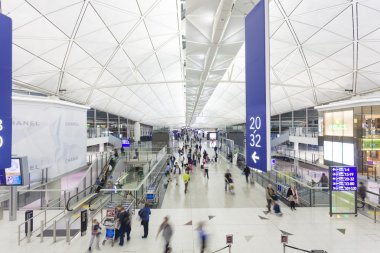 Travellers in the Hong Kong International Airport