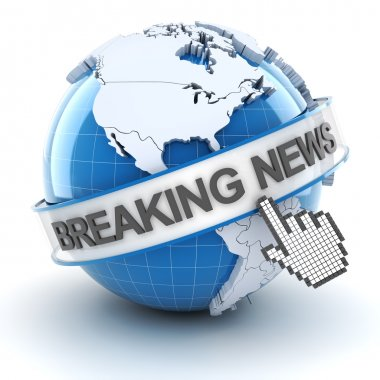 Breaking news symbol, 3d render