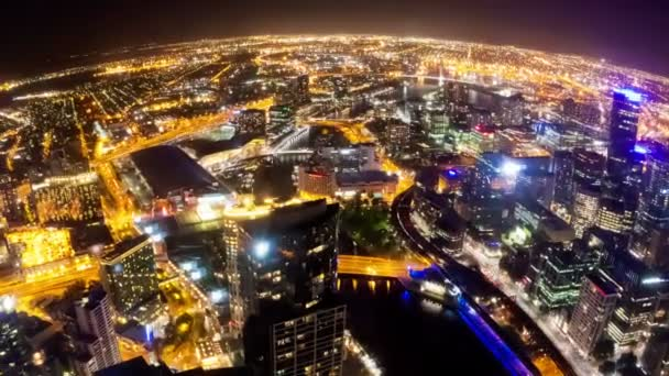 Timelapse video of Melbourne city at night, fisheye view, camera revolving