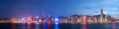 High resolution panoramic view of Hong Kong at night