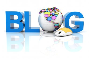 Blog with globe formed by speech bubbles