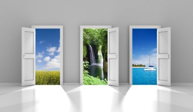 Composite image of three doors leading to different travel destinations stock vector