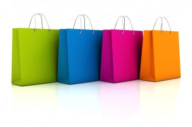 Colourful shopping bags, 3d render
