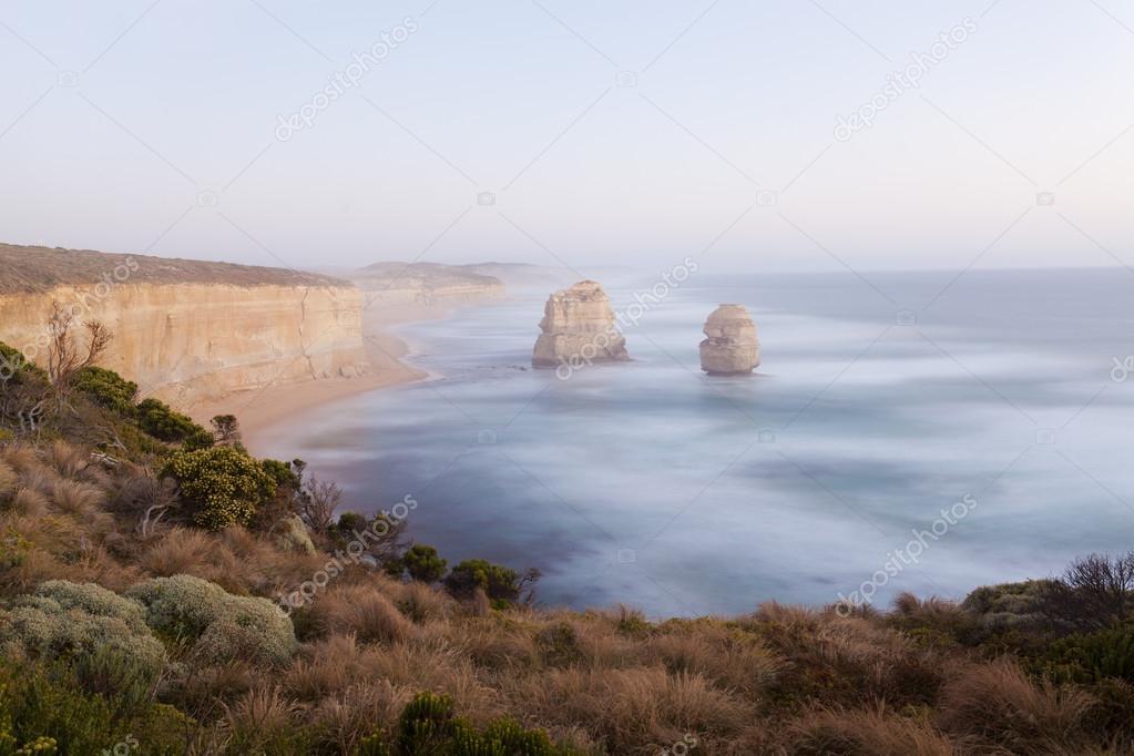 Limestone sea rock near Twelve Apostles in Australia under moonlight