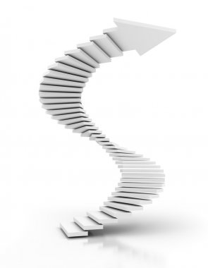 Spiral staircase arrow, 3d render