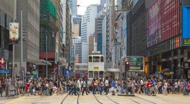 Busy crosswalk in Central, Hong Kong