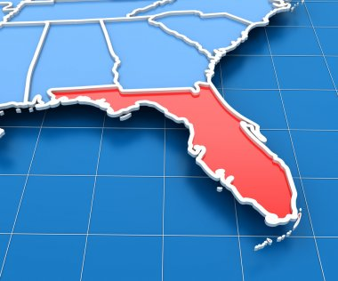 3d render of USA map with Florida state highlighted