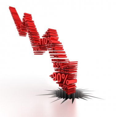 3d downward arrow formed by numbers
