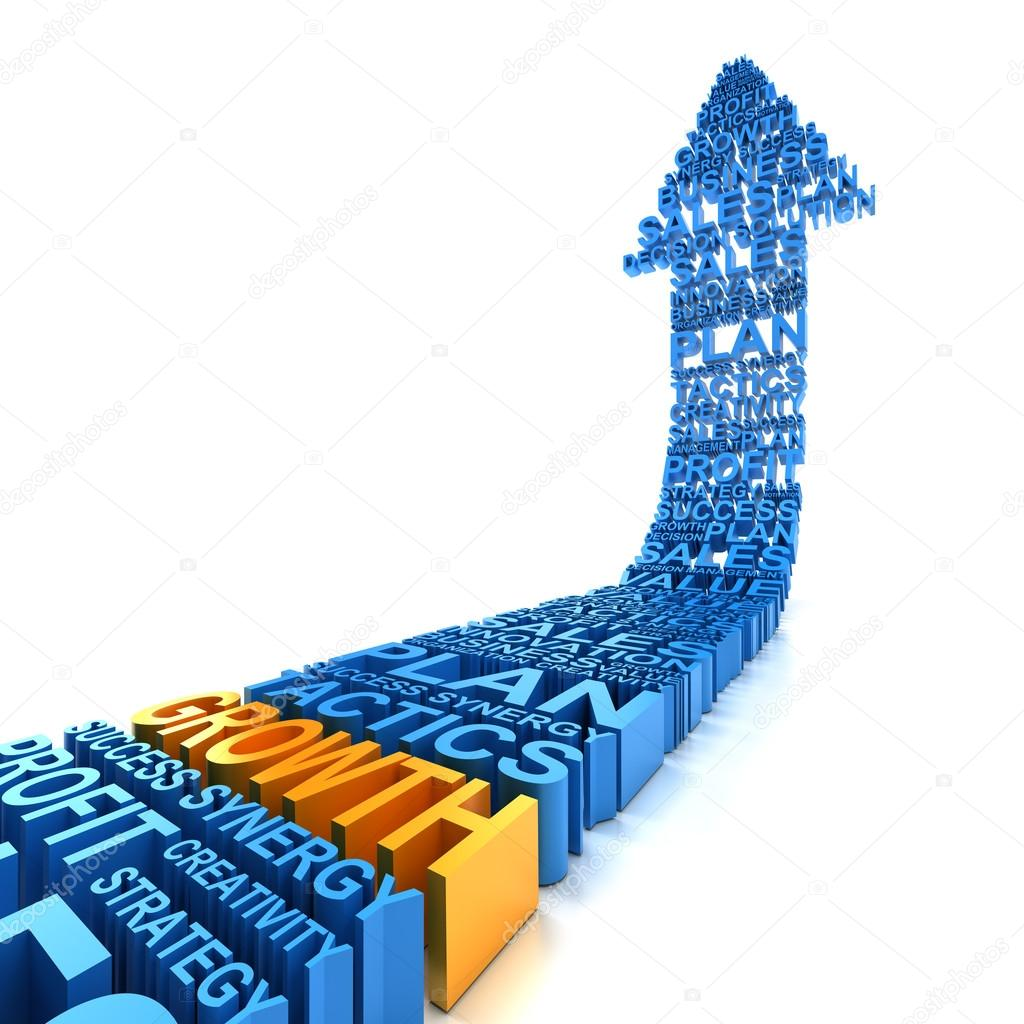 Business growth arrow, 3d render
