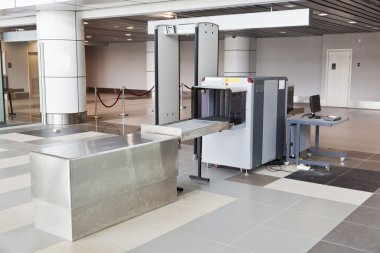 X-ray scanner and metal detector at airport security point