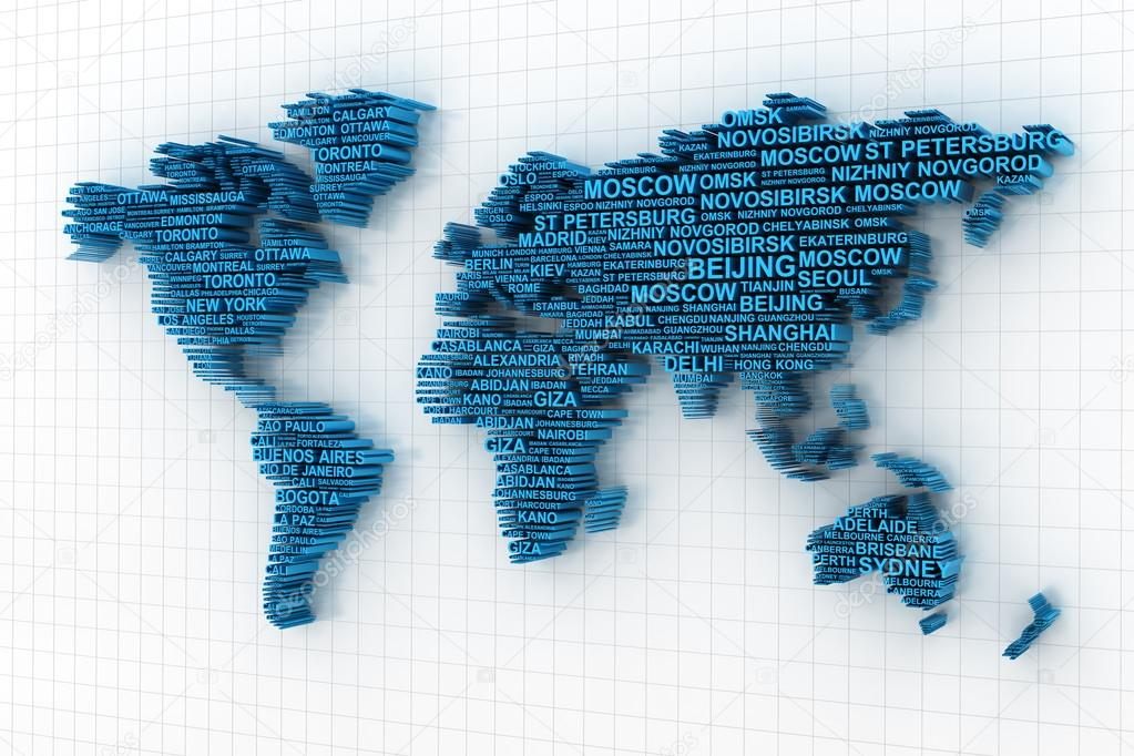 World map formed by words stock photo ymgerman 73297089 3d render of world map formed by names of major cities photo by ymgerman gumiabroncs Gallery