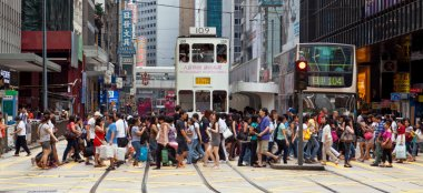 Busy crosswalk in Central, Hong Kong