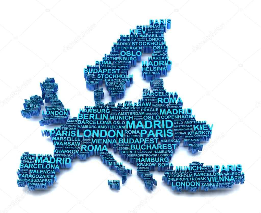 Europe map formed by names of major cities — Stock Photo © ymgerman ...